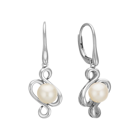 7.5mm Cultured Freshwater Pearl Swirl Earrings in Sterling Silver