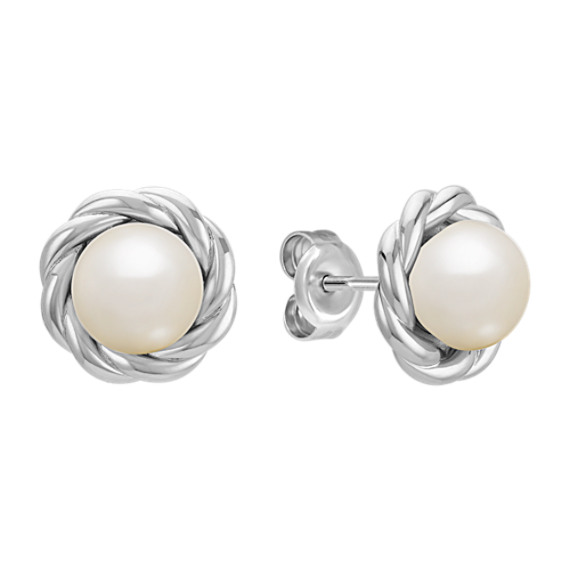7mm Cultured Freshwater Pearl and Sterling Silver Twist Earrings