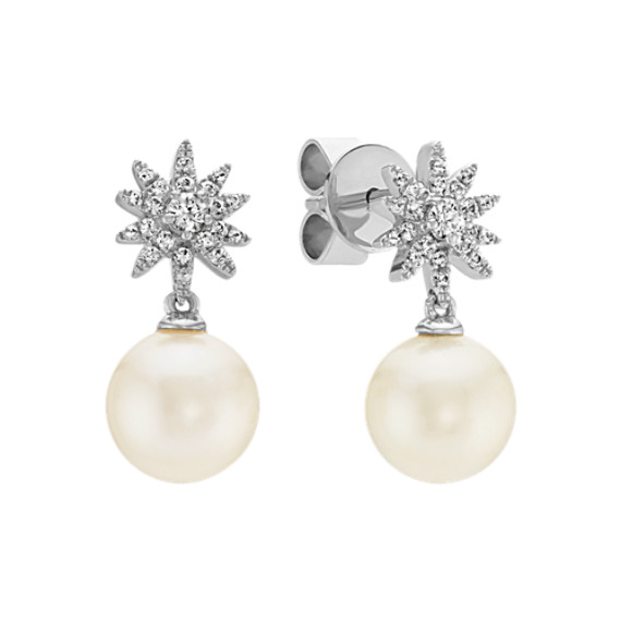 7mm Cultured Freshwater Pearl and White Sapphire Starburst Earrings