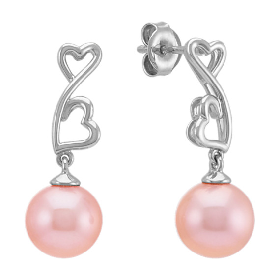 8.5mm Pink Cultured Freshwater Pearl Heart Earrings