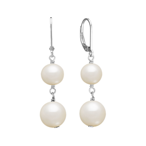 8mm Cultured Freshwater Pearl Dangle Earrings in Sterling Silver
