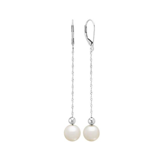8mm Cultured Freshwater Pearl Dangle Earrings