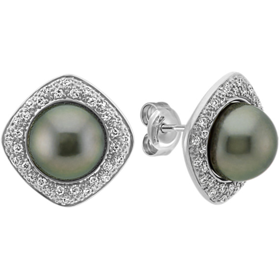 8mm Cultured Tahitian Pearl Earrings With Round Diamond Halo