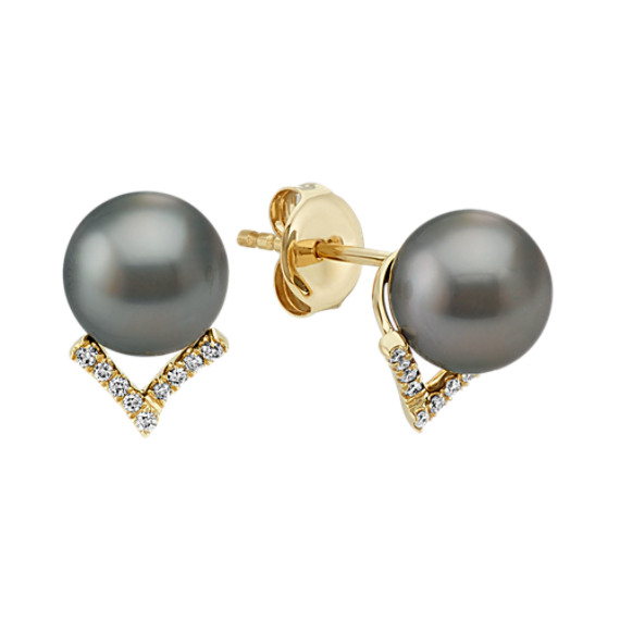 8mm Cultured Tahitian Pearl and Diamond Earrings