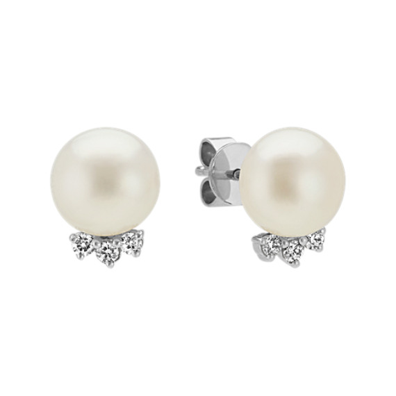 8mm Pearl and Diamond Earrings in 14k White Gold