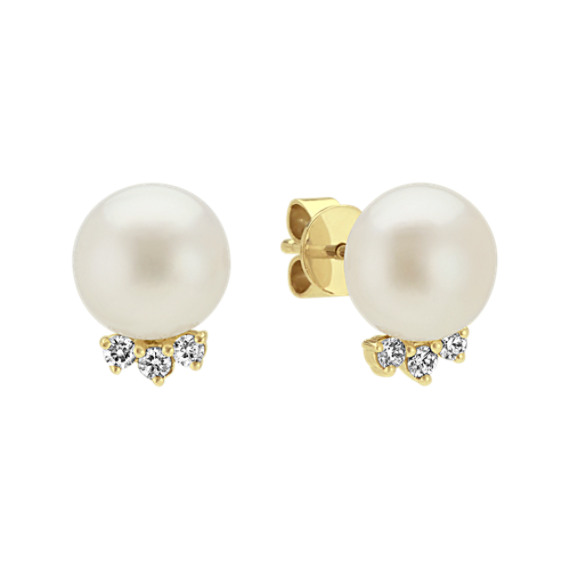 8mm Pearl And Diamond Earrings In 14k Yellow Gold