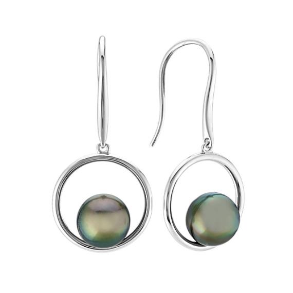 8mm Tahitian Pearl Dangle Earrings
