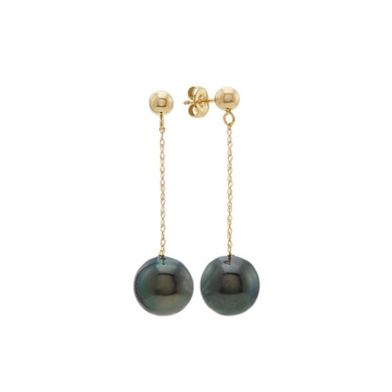 9mm Cultured Tahitian Pearl Dangle Earrings