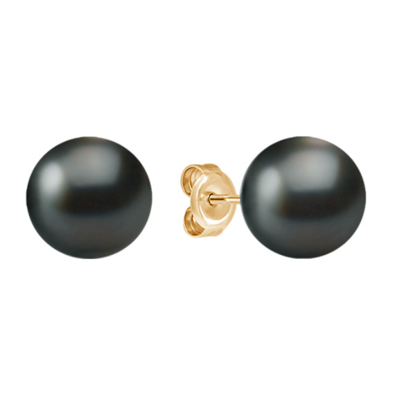 9mm Cultured Tahitian Pearl Solitaire Earrings in 14k Yellow Gold