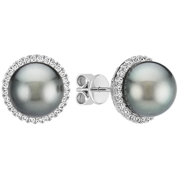 9mm Cultured Tahitian Pearl and Diamond Halo Earrings