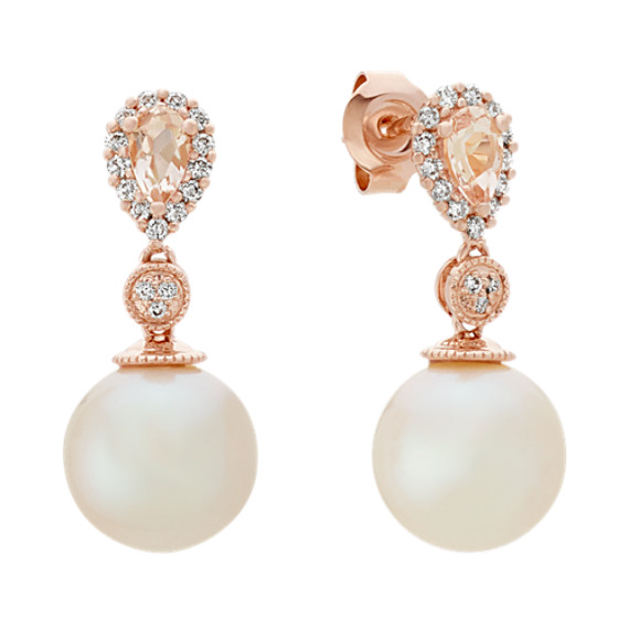 9mm Pearl Pink Morganite And Diamond Earrings