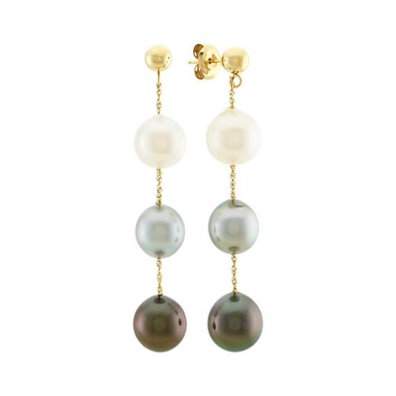 9mm South Sea and Tahitian Pearl Dangle Earrings