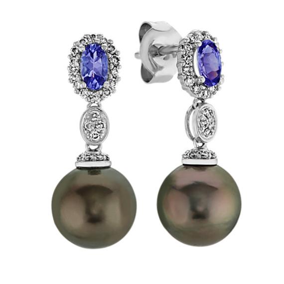 9mm Tahitian Pearl, Tanzanite and Diamond Dangle Earrings