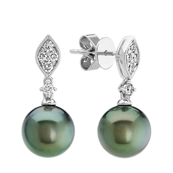 9mm Tahitian Pearl and Diamond Earrings