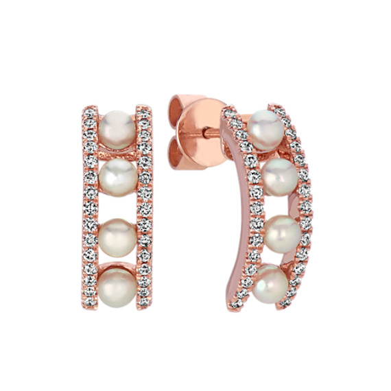 Akoya Pearl and Diamond Earrings in 14k Rose Gold