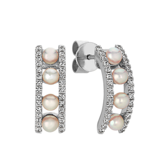 Akoya Pearl and Diamond Earrings in 14k White Gold