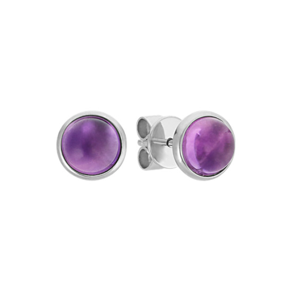 Amethyst Earrings in 14k White Gold