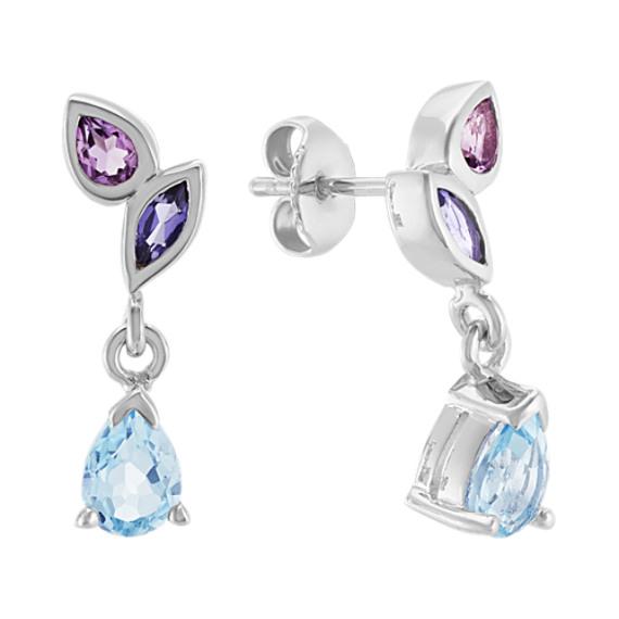 Amethyst, Topaz and Iolite Dangle Earrings