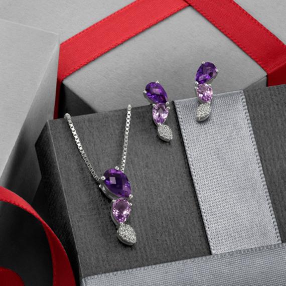 Amethyst and Diamond Dangle Earrings image