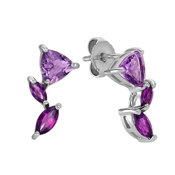 Amethyst and Rhodolite Garnet Earrings in Sterling Silver