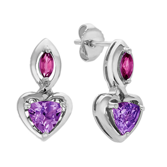 Amethyst and Rhodolite Garnet Heart Earrings