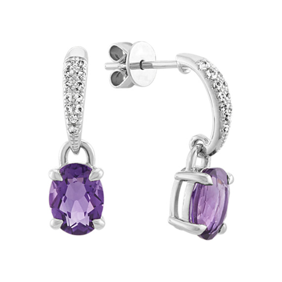 Amethyst and White Sapphire Dangle Earrings