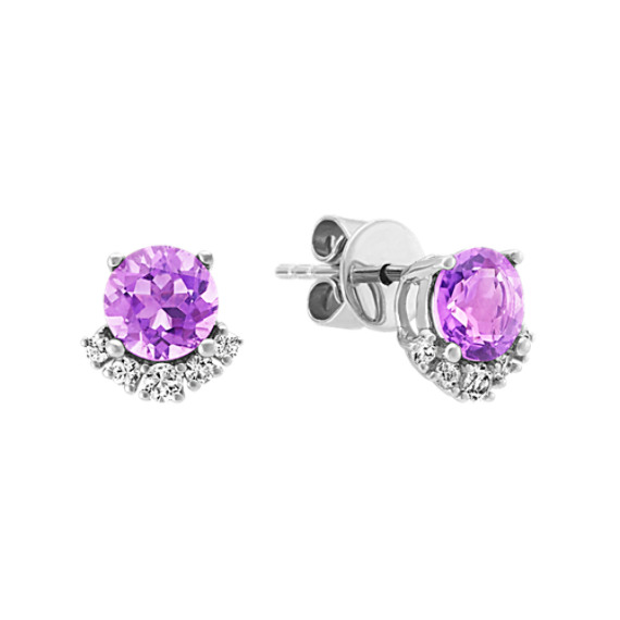 Amethyst and White Sapphire Earrings