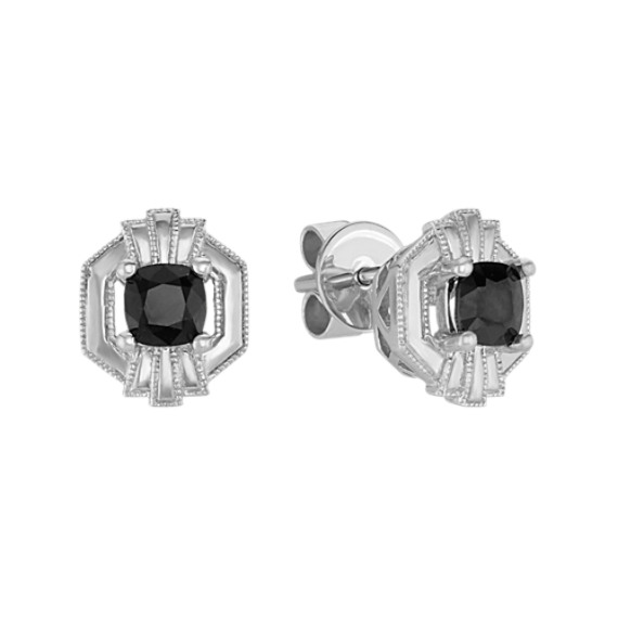 Art Deco Black Sapphire Earrings