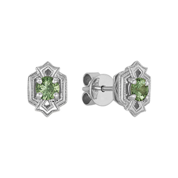 Art Deco Green Sapphire Earrings