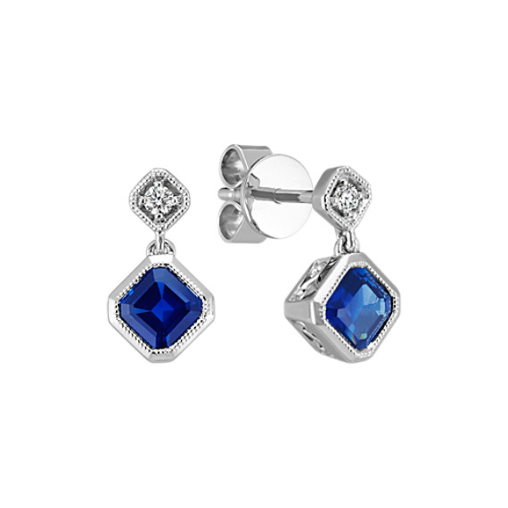 Asscher Cut Traditional Sapphire and Round Diamond Vintage Earrings