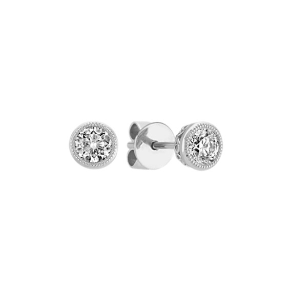 Bezel Set Diamond Earrings In 14k White Gold