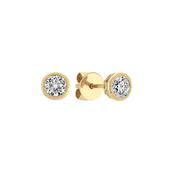 Bezel-Set Diamond Earrings in 14k Yellow Gold
