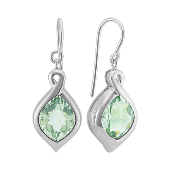 Bezel-Set Fancy Shaped GreenQuartz Earrings in Sterling Silver
