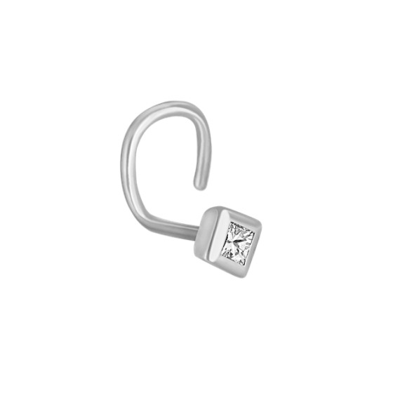 Bezel Set Princess Cut Diamond Nose Ring
