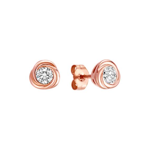Bezel-Set Round Diamond Twirl Earrings in 14k Rose Gold