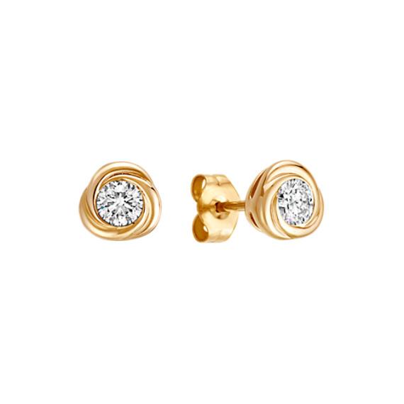 Bezel-Set Round Diamond Twirl Earrings in 14k Yellow Gold