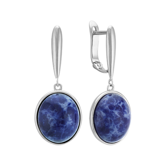 Blue Sodalite and Sterling Silver Leverback Earrings