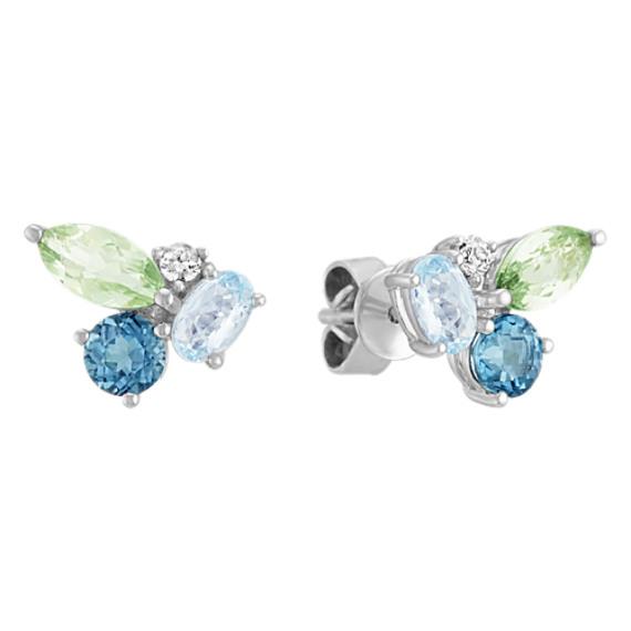 Blue Topaz, Green Quartz and White Sapphire Earrings