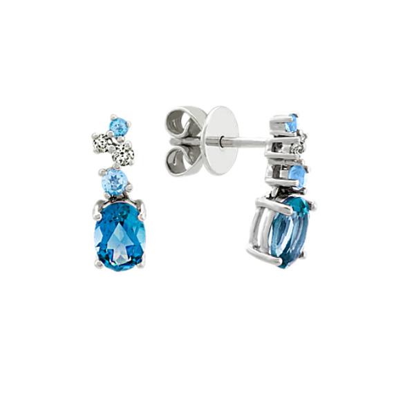 Blue Topaz and Diamond Dangle Earrings