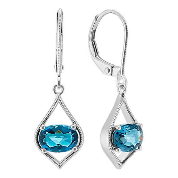 Checkerboard Cut London Blue Topaz Earrings