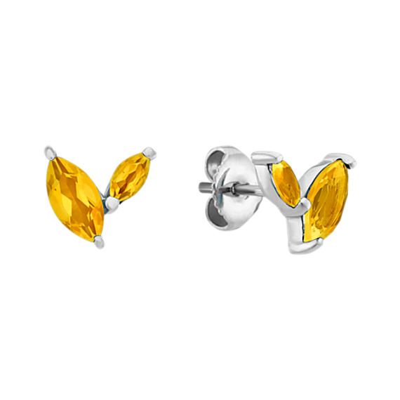 Checkerboard Cut Marquise Citrine Earrings