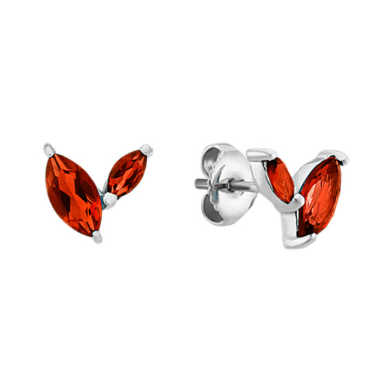 Checkerboard Cut Marquise Garnet Earrings