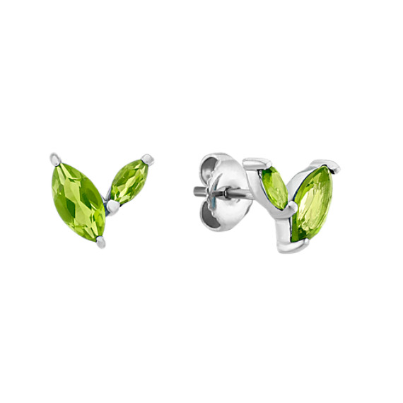 Checkerboard Cut Marquise Green Peridot Earrings