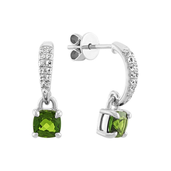 Chrome Diopside and White Sapphire Dangle Earrings