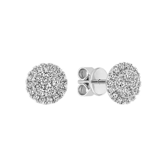 Circle Diamond Cluster Earrings in 14k White Gold