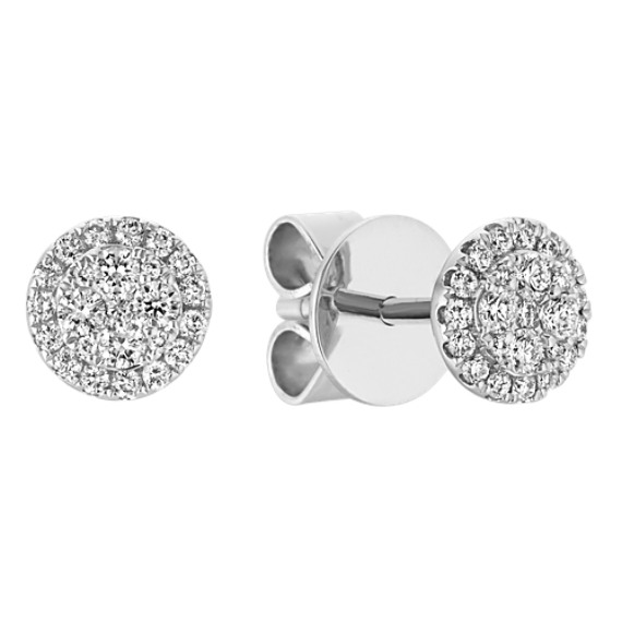 Circle Diamond Cluster Earrings