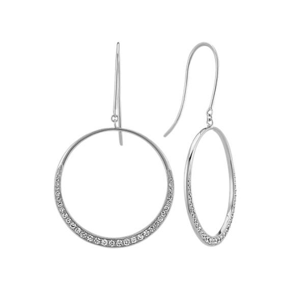 Circle Diamond Dangle Earrings in 14k White Gold