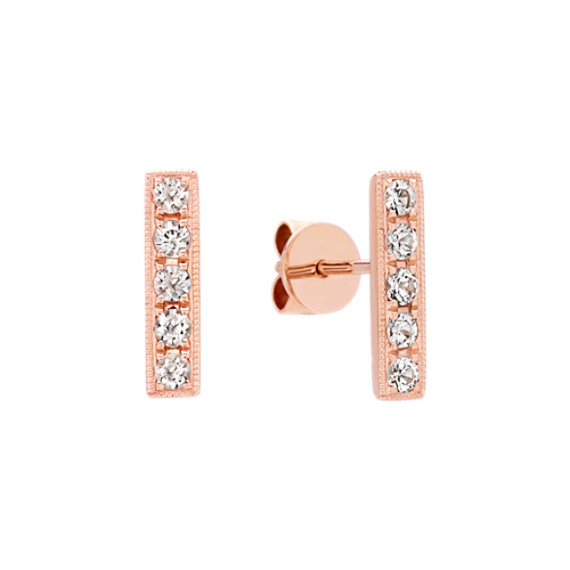 Contemporary Round White Sapphire Bar Earrings in 14k Rose Gold