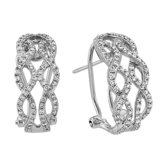 Curved Double Infinity Round Diamond Earrings in 14k White Gold