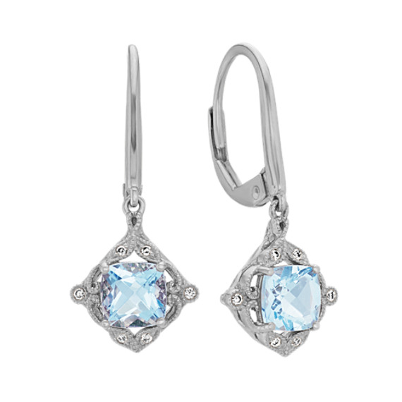 Cushion Cut Aquamarine and Diamond Dangle Earrings